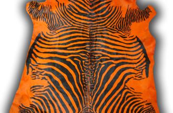 Cow printed zebra dyed orange